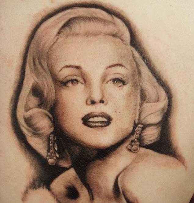 Magnificent 3D realistic lifelike Merlin Monroe photo picture tattoo