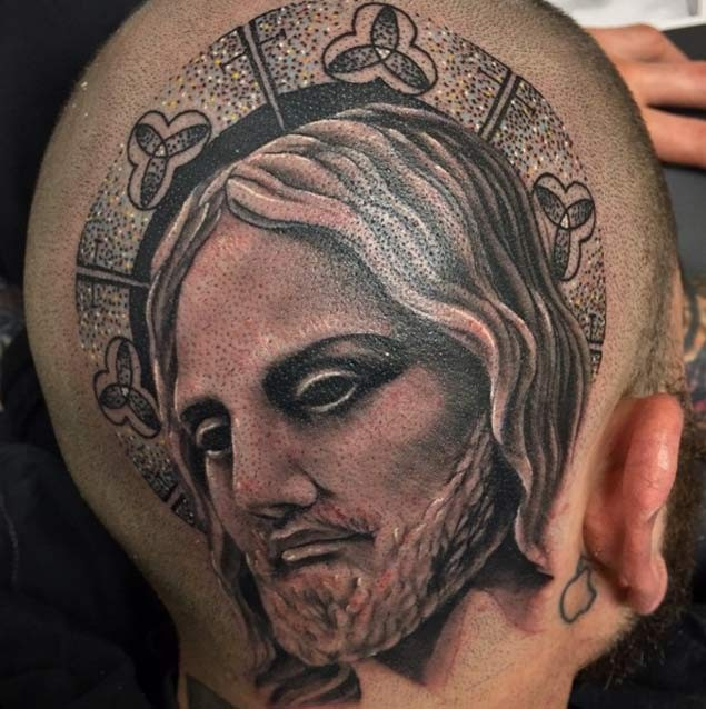 Magnificent 3D style colored mystical Jesus portrait tattoo on back of the head