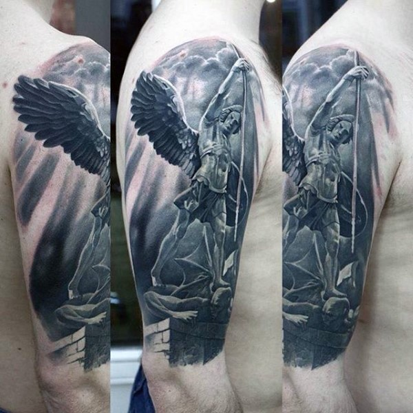 Magnificent black and white angel warrior tattoo on shoulder