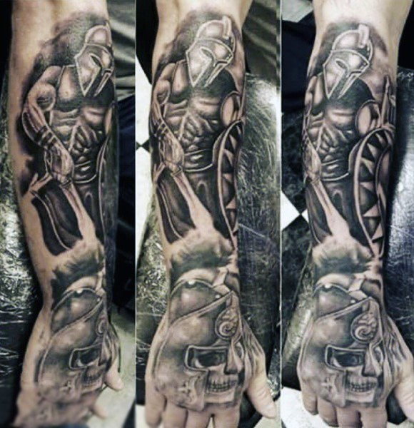 Magnificent black and white forearm tattoo of antic warrior