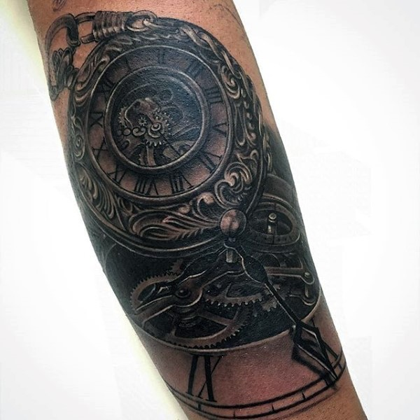 magnificent black and white mechanic antic clock tattoo on leg. Black Bedroom Furniture Sets. Home Design Ideas