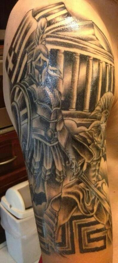 Magnificent black ink antic warrior tattoo on shoulder with building