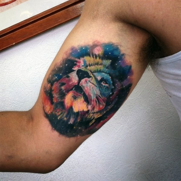 Magnificent colorful space sky with lion tattoo on arm