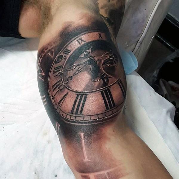 Magnificent designed 3D like antic mechanic clock tattoo on biceps