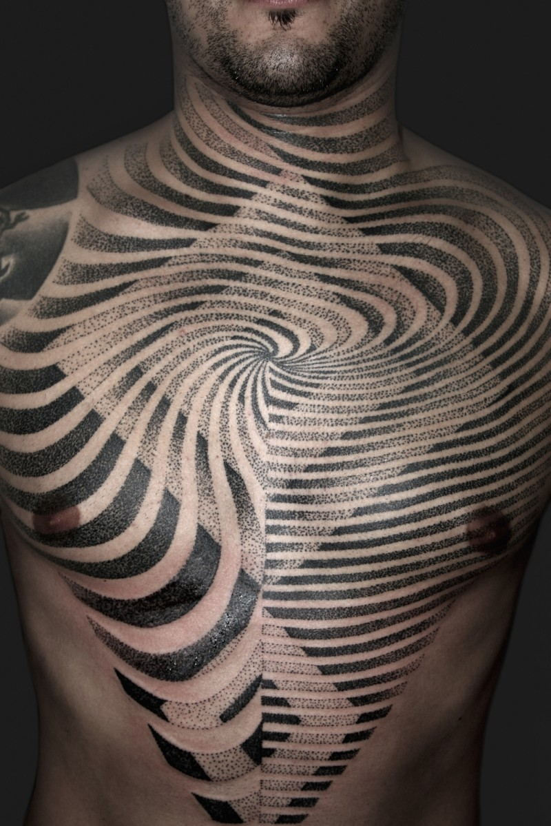 Magnificent designed black and white hypnotic tattoo on chest and neck