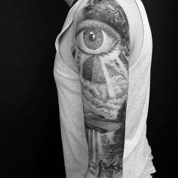 Magnificent designed Masonic style mystical eye with pyramids and alien ship tattoo on sleeve
