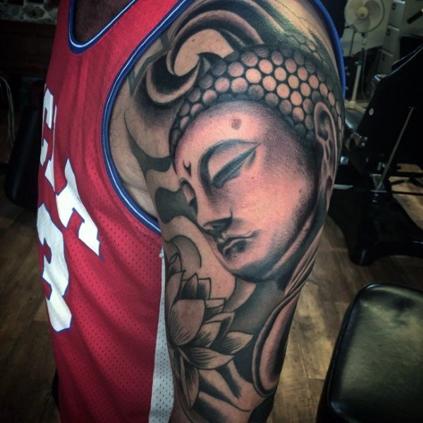 Magnificent Hinduism Buddha and lotus flower sleeve tattoo