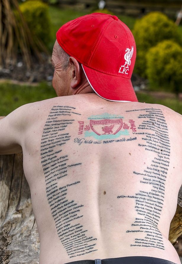 Magnificent Looking Colored Whole Back Tattoo Of Liverpool Fc Anthem Tattooimages Biz