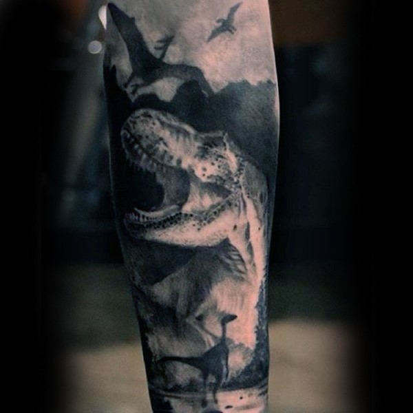 Magnificent looking illustrative style forearm tattoo of various dinosaurs