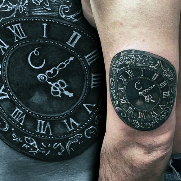 magnificent painted 3d like very realistic old clock tattoo on arm. Black Bedroom Furniture Sets. Home Design Ideas