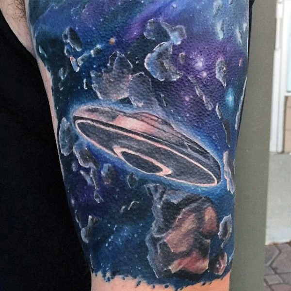 Magnificent painted and colored cool alien ship in space half sleeve tattoo