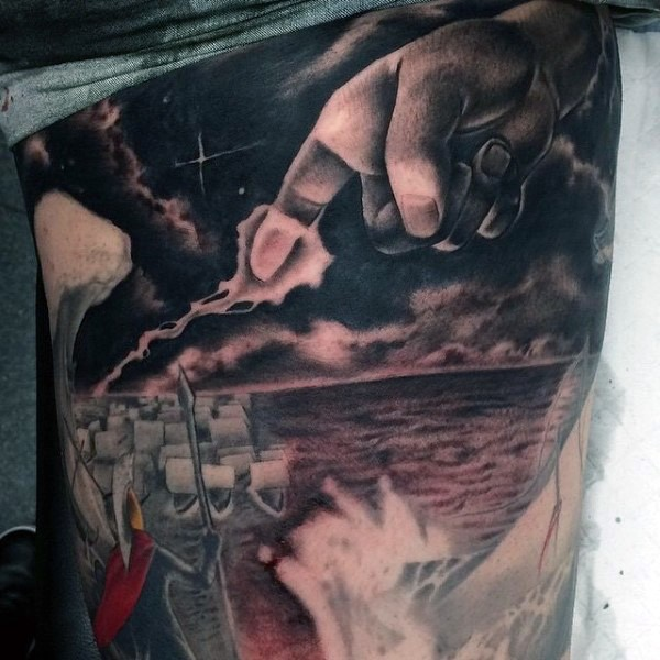 Magnificent painted and colored original nautical tattoo on thigh