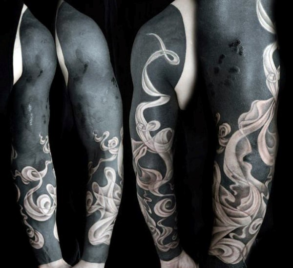 Magnificent painted colored ribbon shaped ornaments tattoo on sleeve