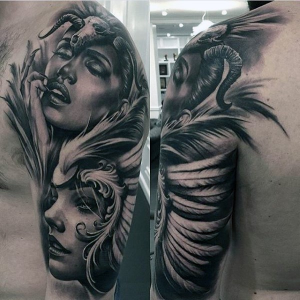 Magnificent painted very realistic looking tribal woman tattoo on arm