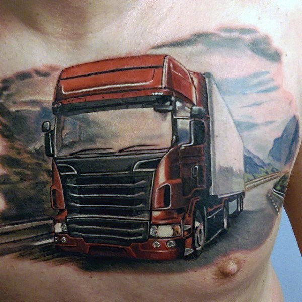 Magnificent realistic colored illustrative style chest tattoo of big truck