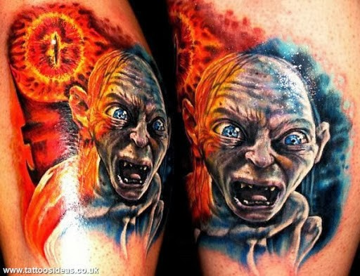 Magnificent realistic looking Lord of the Rings heroes tattoo