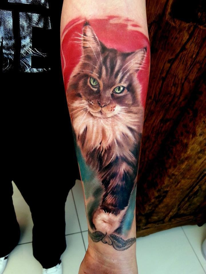 Magnificent very beautiful forearm tattoo of cat portrait
