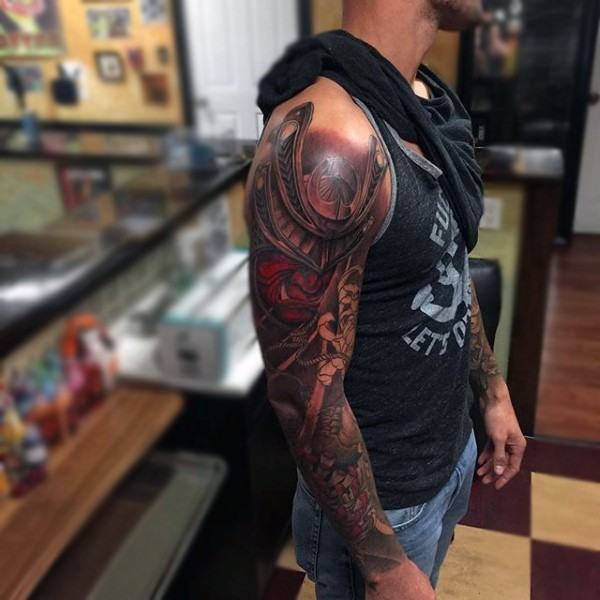 56eed819f7545 Magnificent very detailed colorful Asian samurai warrior tattoo on sleeve  area