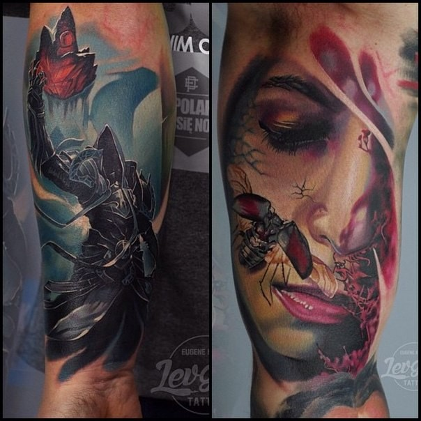 Magnificent very detailed mystical warrior tattoo on sleeve with woman portrait and insect