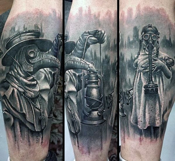 Magnificent vintage like forearm tattoo of plague doctor with girl