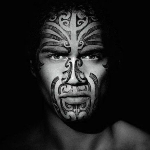 Maori warrior face tattoo