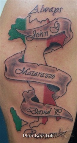 Map of italy memorial tattoo