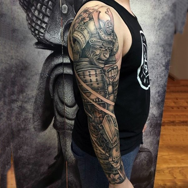 Marvelous big colored natural looking sleeve tattoo of samurai warrior with sword