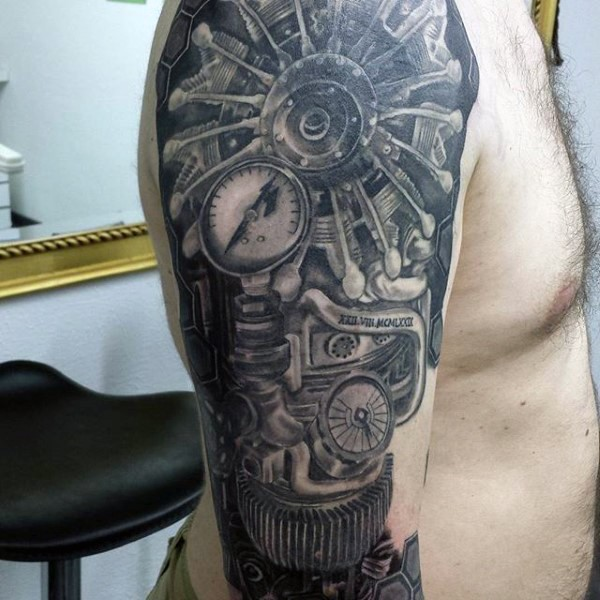 Small Engine Tattoo: Marvelous Black And White Shoulder Tattoo Of Original