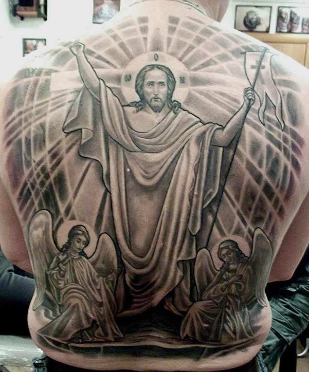 Marvelous colored and detailed whole back tattoo of angelic statues and God