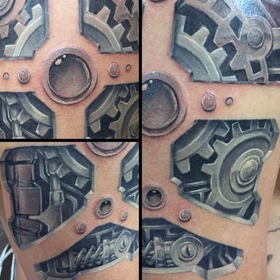 Marvelous colored biomechanical style tattoo on upper arm