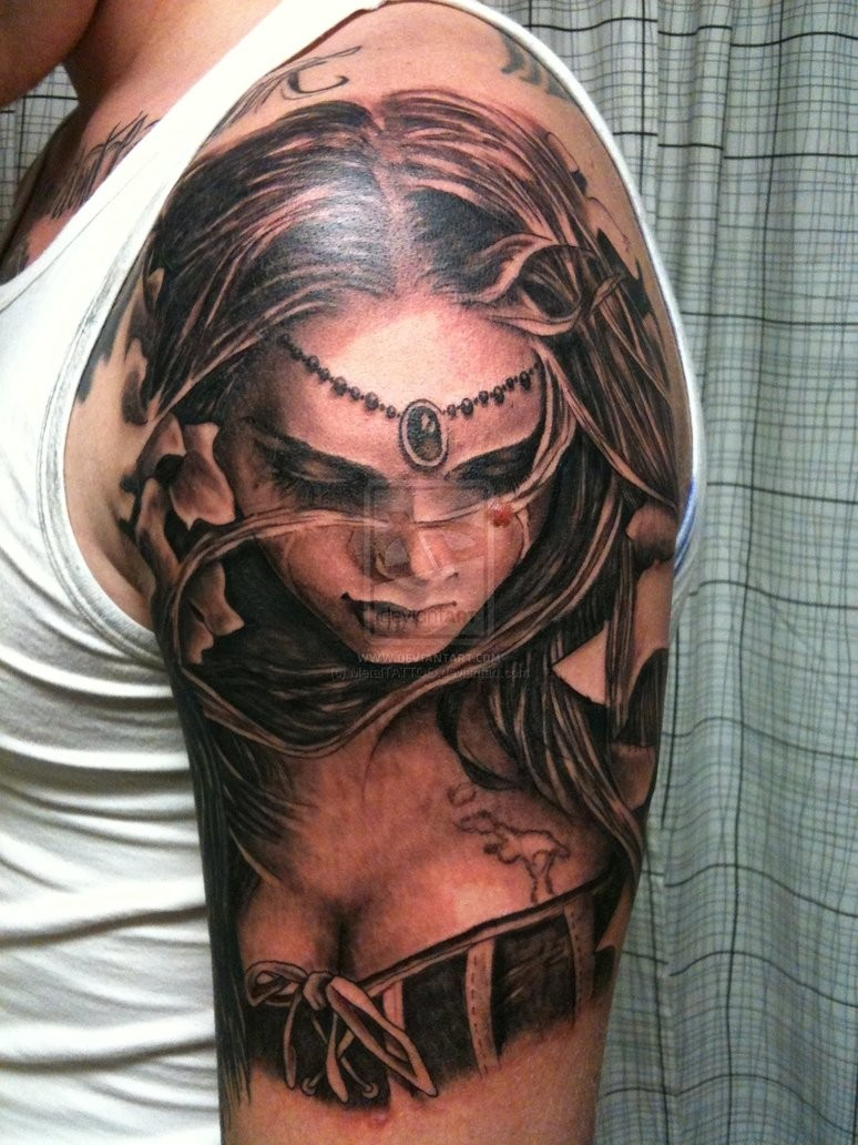 Marvelous colored shoulder tattoo of sexy woman with jewelry