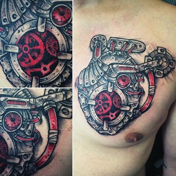 Marvelous colorful biomechanical style chest tattoo of human heart