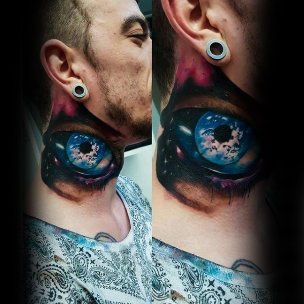 Marvelous colorful detailed 3D eye tattoo on neck