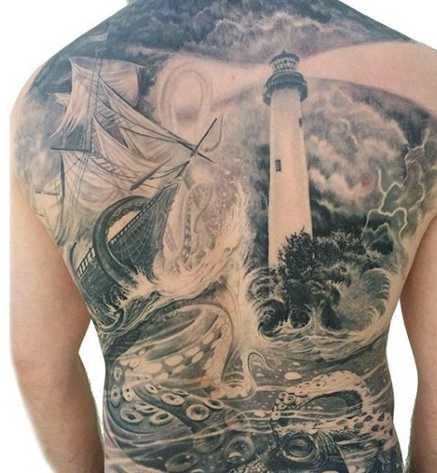 Marvelous designed massive black and white nautical tattoo with squid, ship and lighthouse on whole back