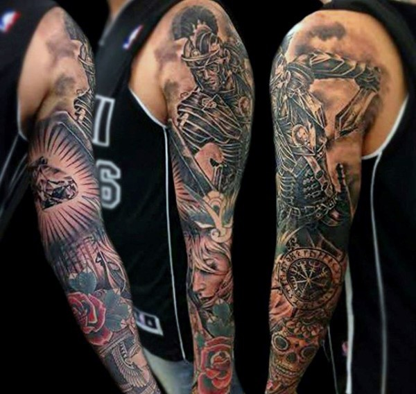 Marvelous detailed black ink fantasy warrior tattoo on shoulder