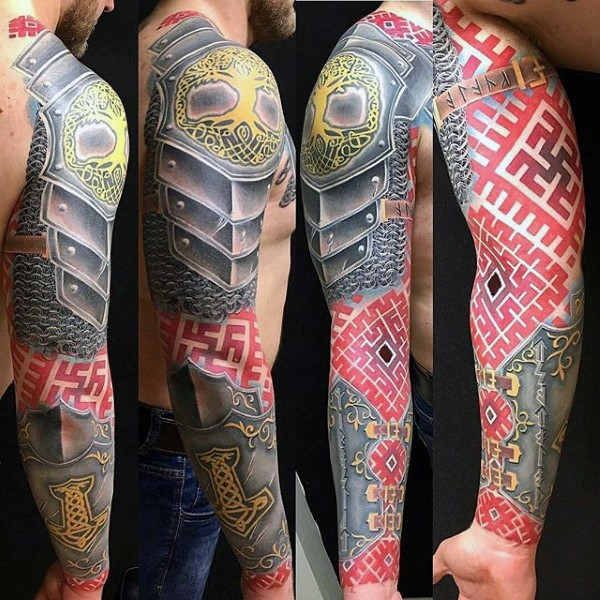 Marvelous geometric style colored sleeve tattoo combined with medieval armor