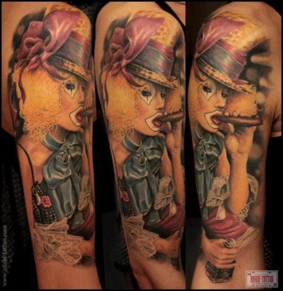 Marvelous illustrative style smoking clown tattoo on shoulder