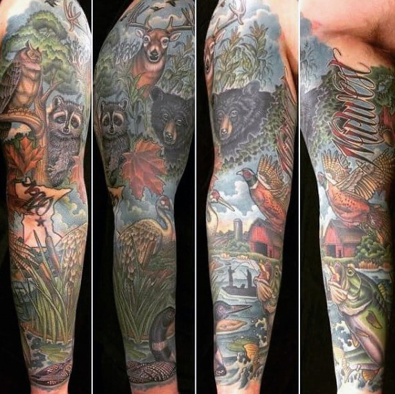 Marvelous large colorful illustrative style sleeve tattoo of various animals and lettering