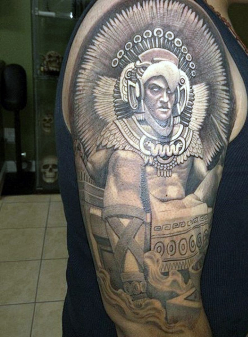 Marvelous looking colored shoulder tattoo of evil Mayan priest
