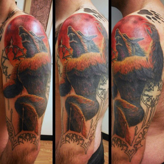 Marvelous multicolored shoulder tattoo of evil werewolf and red moon