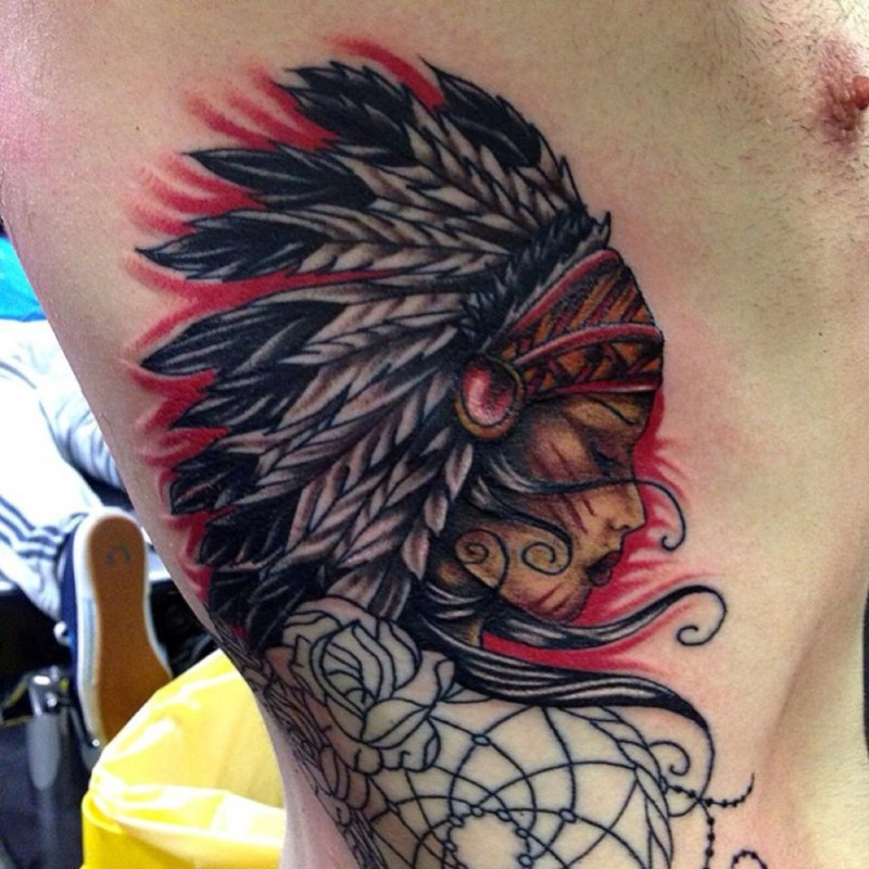 53 Marvelous Quotes Shoulder Tattoos: Marvelous Multicolored Side Tattoo Of Indian Woman With