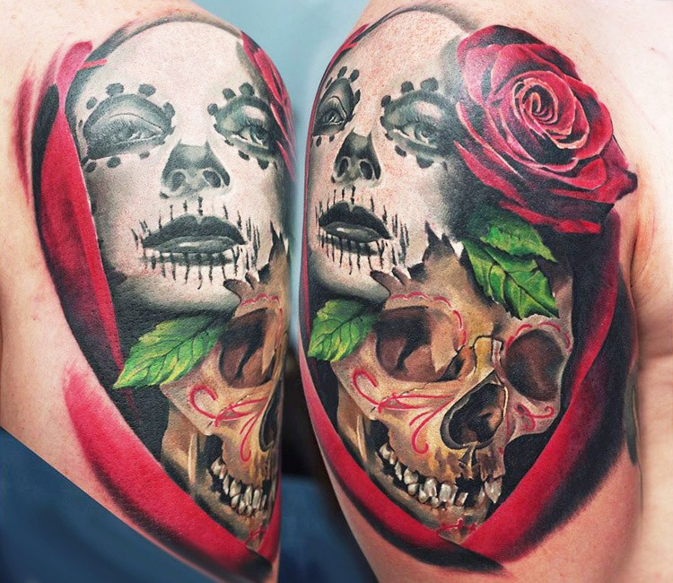Marvelous multicolored tattoo of human skull with flower and woman in mask