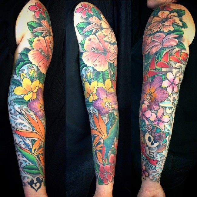 Marvelous multicolored various flowers sleeve tattoo with skull and banner lettering