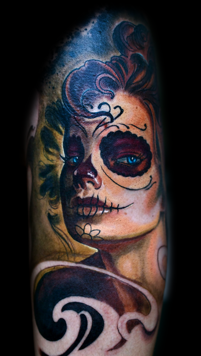 Marvelous multicolored very detailed tattoo of Mexican traditional woman portrait