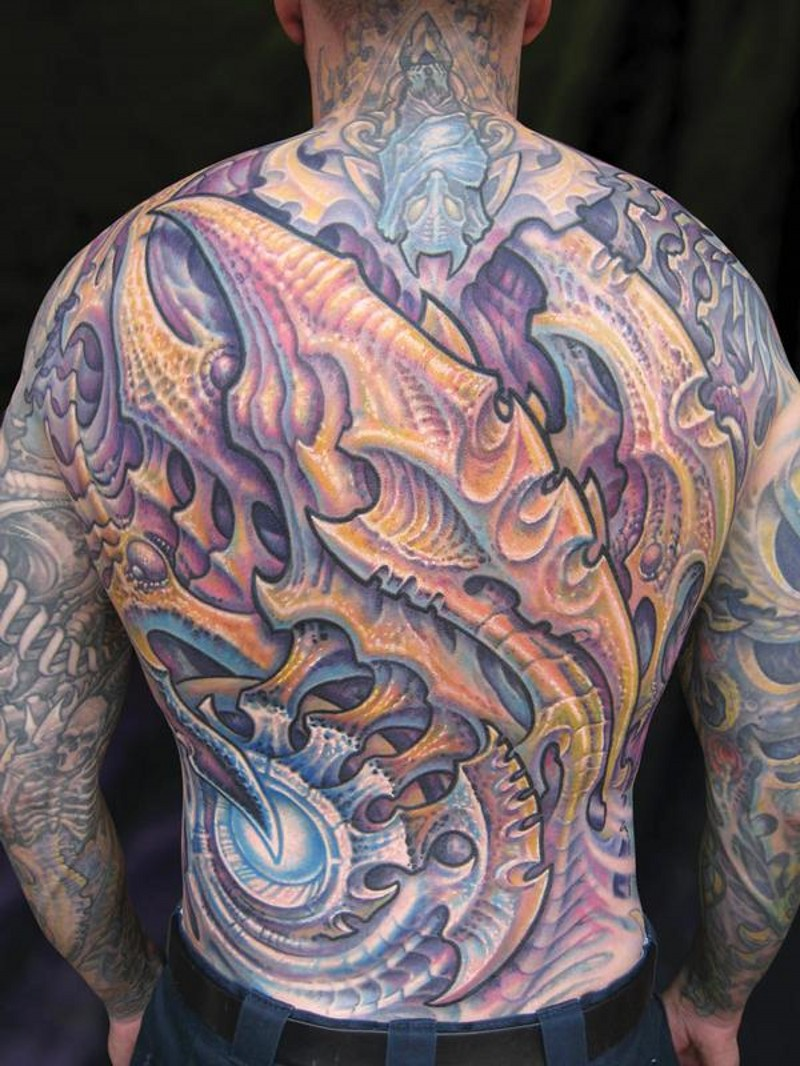 Marvelous multicolored whole back tattoo of alien skeleton for Whole back tattoos