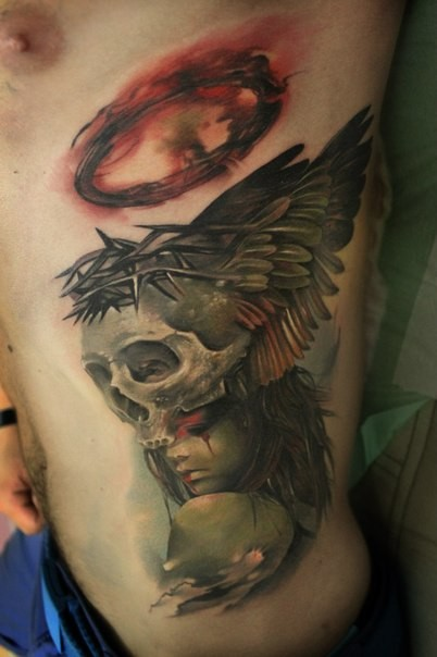 Marvelous mystical looking colored side tattoo of demonic woman with skull and wings