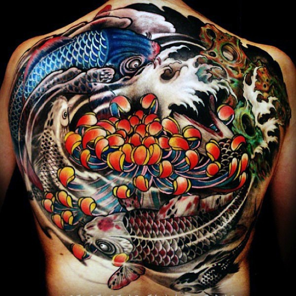 Marvelous neo japanese style colored whole back tattoo of for Neo japanese tattoo