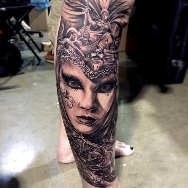 Marvelous painted black and white woman portrait tattoo on leg with antic statues