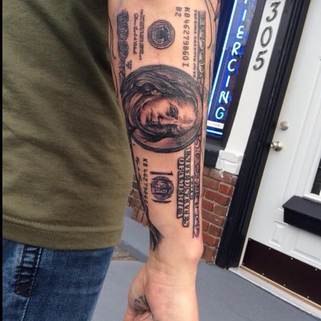 Marvelous real like black ink forearm tattoo of money bill