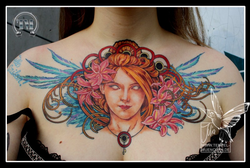 Marvelous very beautiful looking mystical woman with flowers tattoo on chest